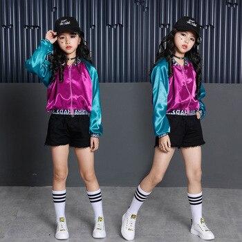d625ca5aa Los niños Hip Hop ropa de baile de Jazz traje para niñas Color bloque  chaqueta cultivo tanque Tops pantalones cortos de baile de salón de baile  Streetwear