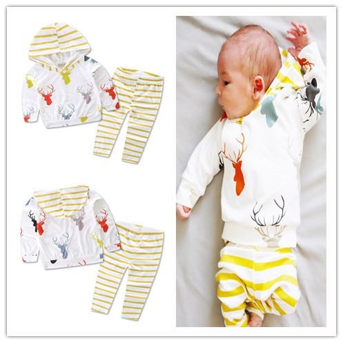 2019 Cute Infant Baby Girl Boy Clothes Deer Tops Hooded T-shirt+pants 2pcs Outfits Kids Newborn Clothes Baby Clothing Set Infant