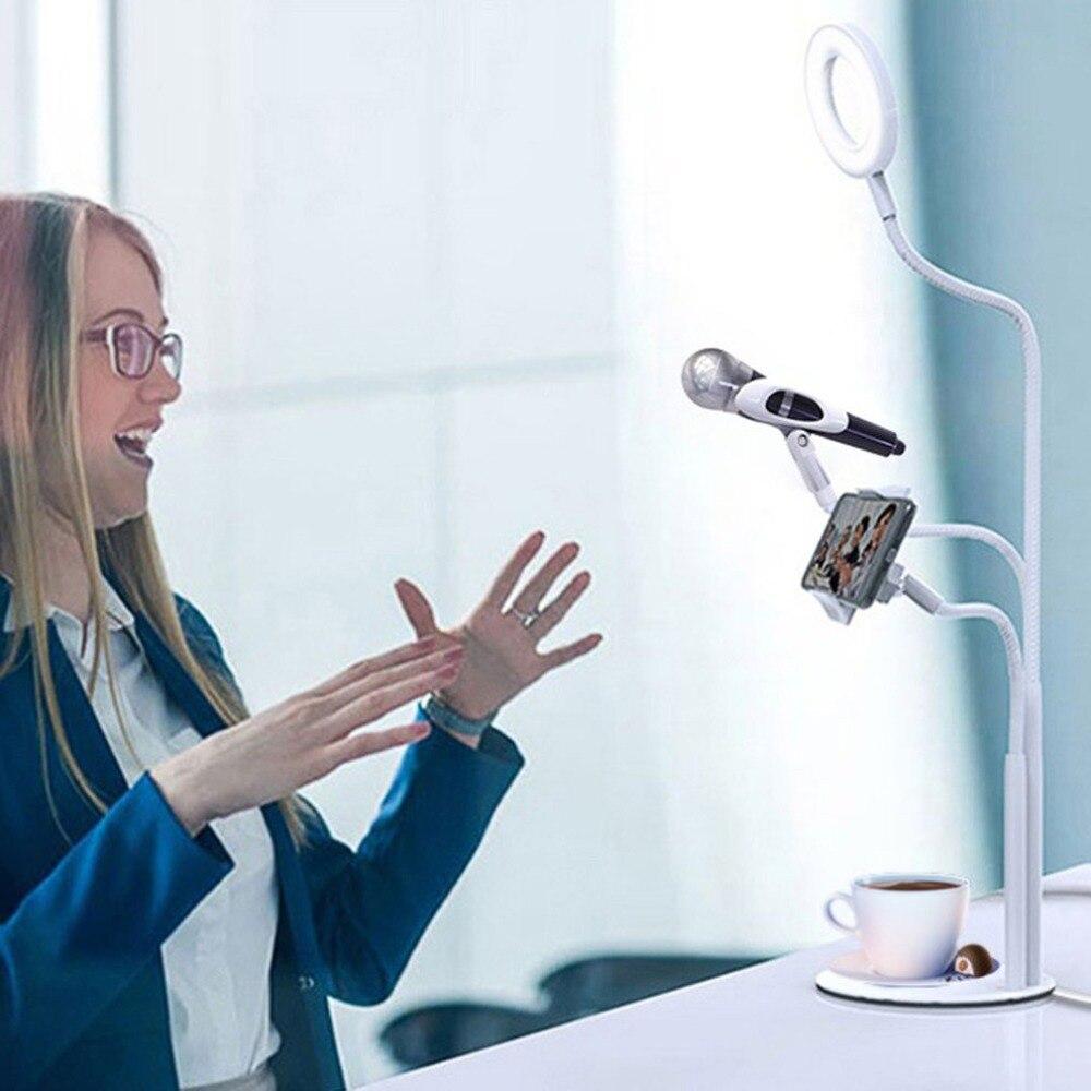 Support pour téléphone portable de bureau réglable universel Flexible Selfie anneau lumière Long bras clip de fixation pour téléphone portable pour enregistrement en direct