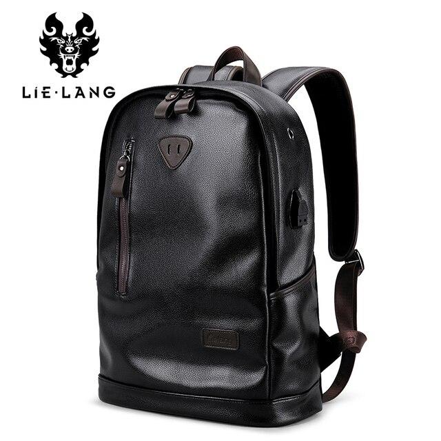 LIELANG bookbags Men Backpack Leather Male