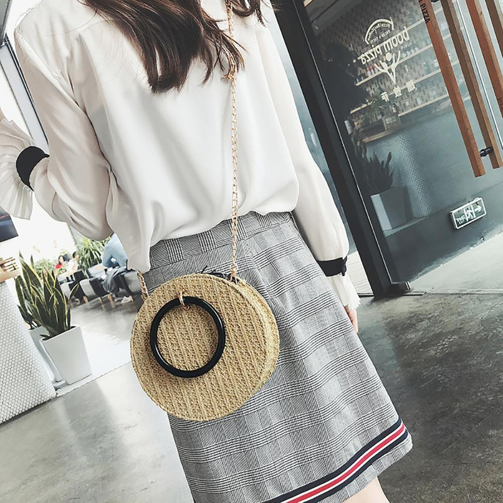Ins Fashionable Portable Straw Small Round Bag 2018 New All match Single Shoulder Messenger Bag Fashion Female Beach Woven Bag in Top Handle Bags from Luggage Bags