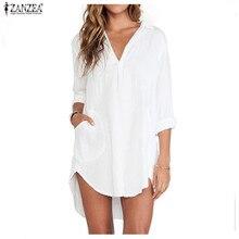 ZANZEA рубашка платье Vestido Для женщин Летнее шифоновое Короткое мини-платье Sexy v-образным вырезом с длинным рукавом Свободные платье с длинным Топы корректирующие плюс размеры
