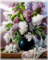 Needles, DIY DMC 14CT Unprinted Cross Stitch, Embroidery Kits,Lilac Flowers,Countertops,Home Decor Wall Decoration For Handmad