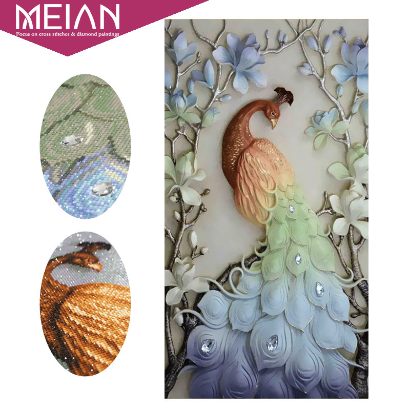 Meian,Special Shaped,Diamond Embroidery,Animal,Peacock,5D,Diamond Painting,Cross Stitch,3D,Diamond Mosaic,Decoration,Christmas