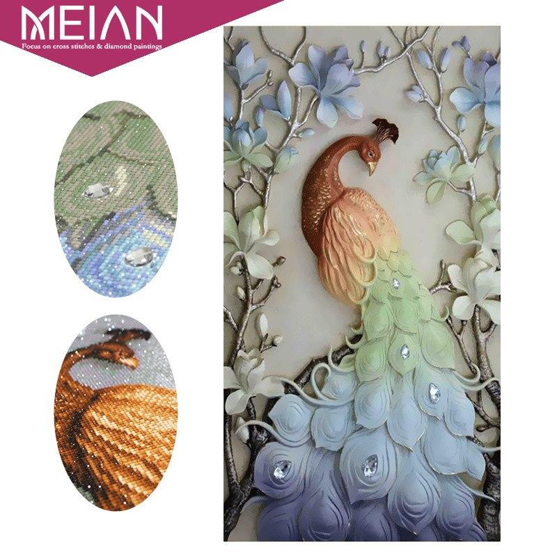 Meian Special Shaped Diamond Embroidery Animal Peacock 5D Diamond Painting Cross Stitch 3D Diamond Mosaic Decoration
