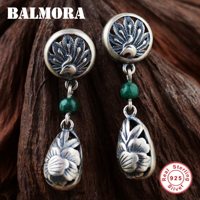 BALMORA 100% Real 925 Sterling Silver Malachite Retro Phoenix & Peony Flower Earrings for Women Gifts Jewelry Bijoux SY31091