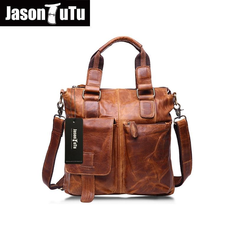 ФОТО JASON TUTU Genuine Leather Bags Men Handbag Crazy Horse Leather men messenger bags Men's Travel Bags Vintage shoulder bags HN243