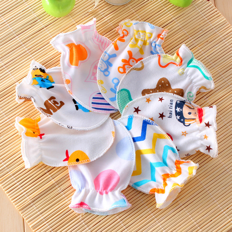 3Pairs/lot baby gloves 0-6 months cartoon cotton mittens newborn teething boys girls accessories care winter summer