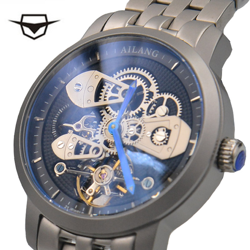 Ailang mens 자동 기계 패션 톱 브랜드 시계 tourbillon 고품질 스테인레스 스틸 시계 relogio masculino-에서기계식 시계부터 시계 의  그룹 1