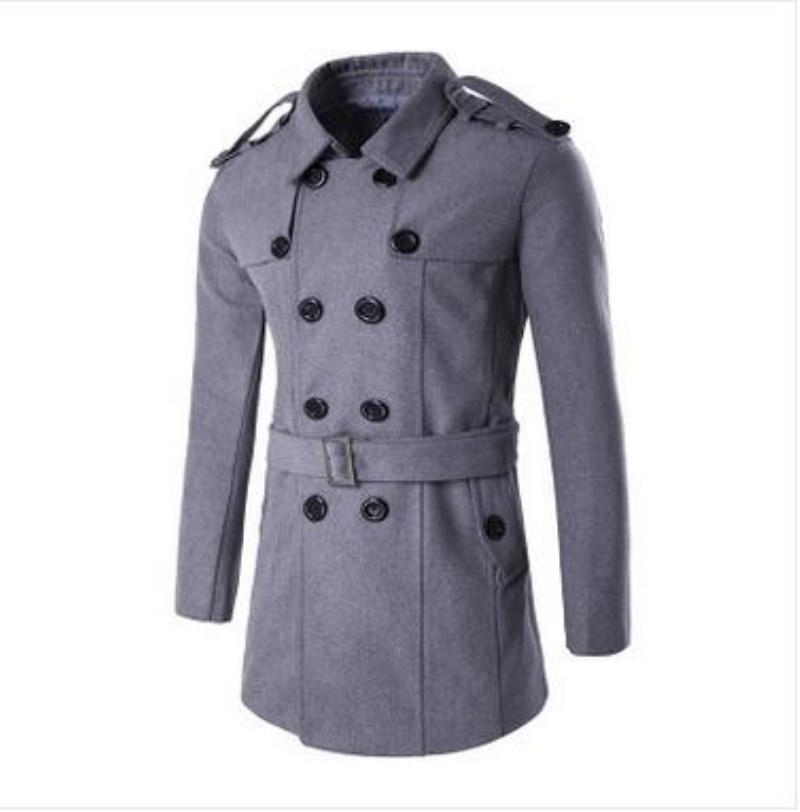 2017 New Arrival Winter Warm Man Trench Coat Fashion Peacoat Masculino Turn-down Collar Woolen Long Trench Coat