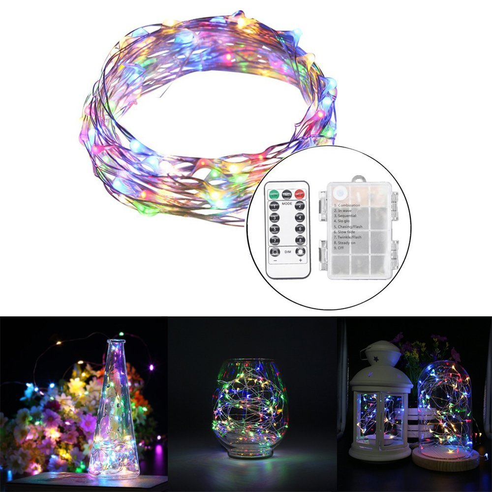 5m 10m 100 LED 3AA Battery Silver Wire String Light Fairy Lamp Decorative Light With 8 Function Remote Control And Battery Box
