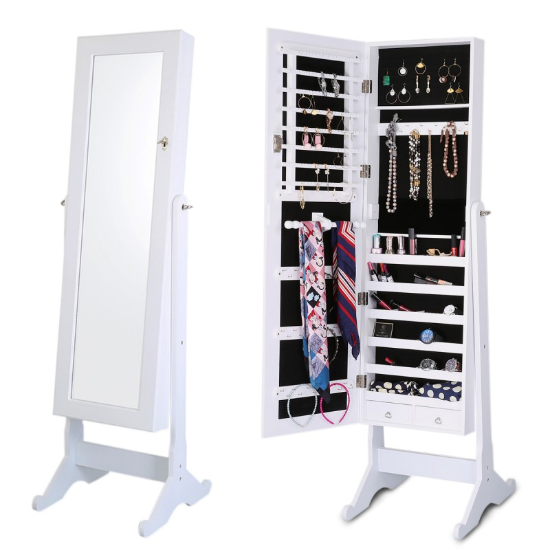 Lockable Jewelry Cabinet Standing Jewelry Armoire Organizer with Mirror Full Length Standing Storage 4 Angle Adjustable