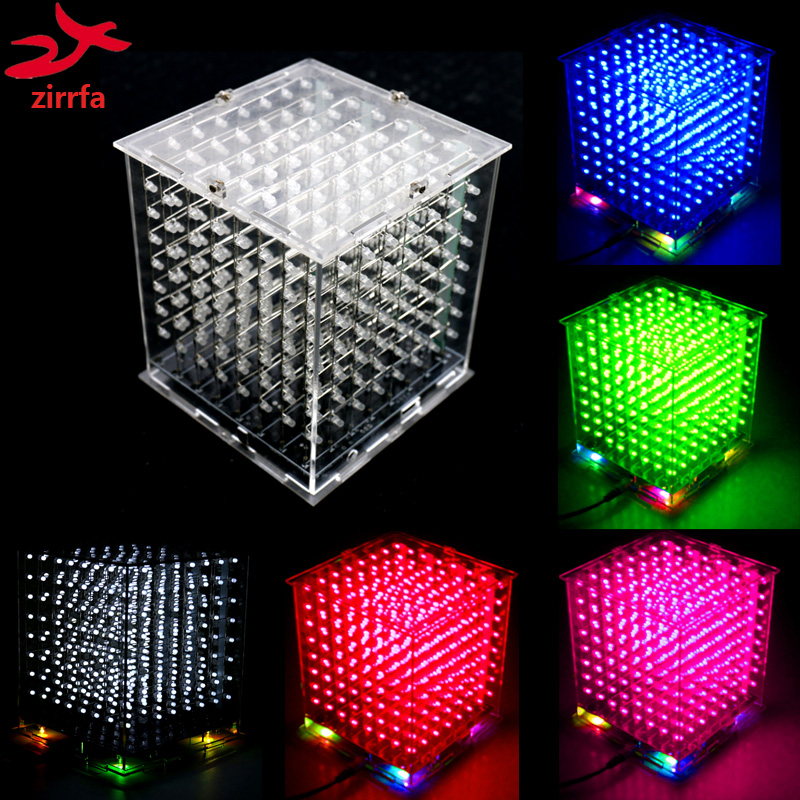 Hot sale mini 3D 8 8x8x8  led electronic light cubeeds diy kit Students electronic production for Christmas Gift/New Year giftHot sale mini 3D 8 8x8x8  led electronic light cubeeds diy kit Students electronic production for Christmas Gift/New Year gift