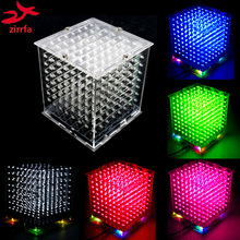 цена Hot sale mini 3D 8 8x8x8  led electronic light cubeeds diy kit Students electronic production for Christmas Gift/New Year gift онлайн в 2017 году