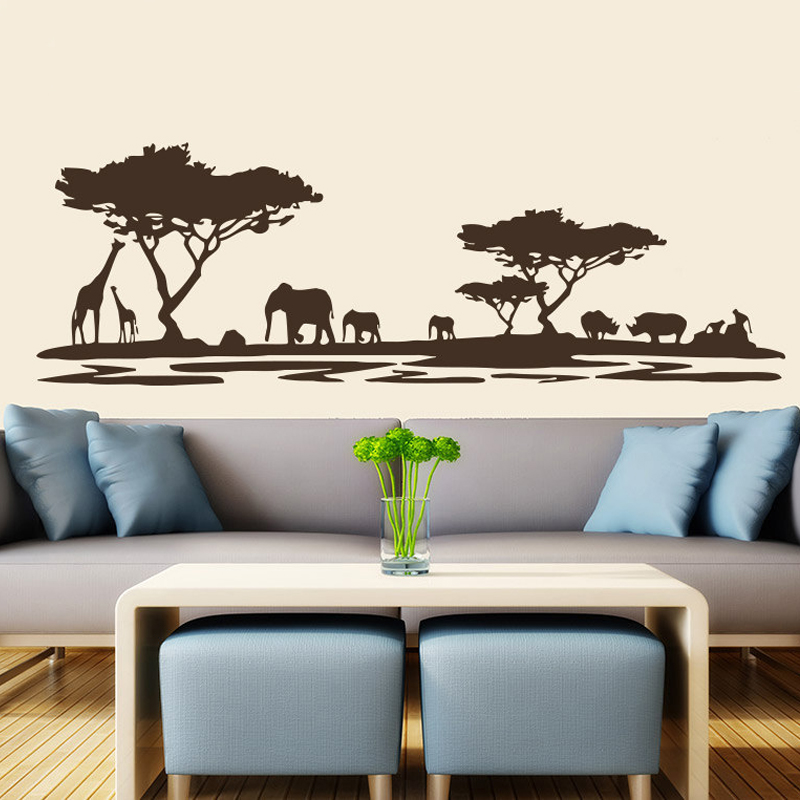 safari wall decor for living room safari wall decal vinyl animals elephant 24407