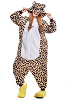 Fashion Leopard Bear Adult Pajamas Animal Sleepwear Party Jumpsuit Sleepsuit One Piece Christmas Halloween Cosplay Costumes