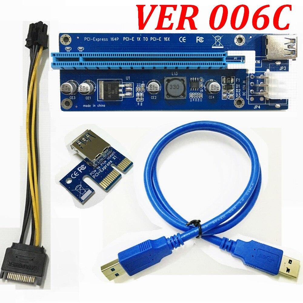 bilder für 500 satz/los * VER 006C PCI-E PCI Express E 1X zu 16X grafiken karte Riser Extender-karte + USB 3.0 kabel Adapter 6 pin versorgung