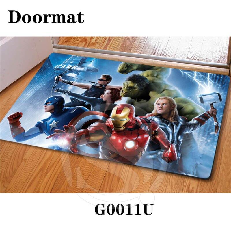 Free Shipping Custom Marvel Avengers DoorMat Art Pattern Printed Carpet Floor Hall Bedroom Cool Pad Fashion Rug SQ0626