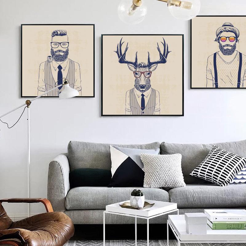 bianche pared simple hombre de moda arte de la lona impresin de la pintura cartel de