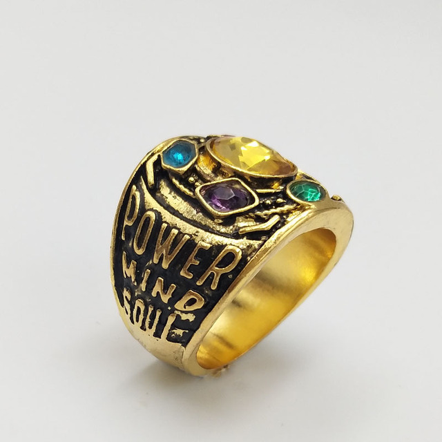 Avengers Infinity War Thanos Infinity Gauntlet Power Cosplay Alloy Ring Jewelry  4