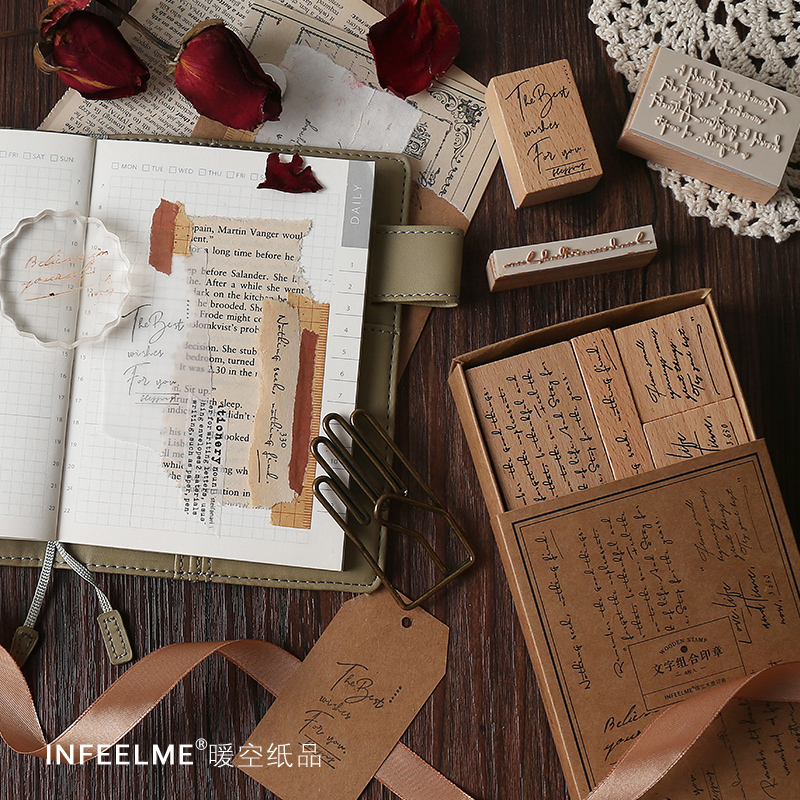 Text Set 8Pcs \ DIY Creative Cute Fun Vintage Stamp Wooden Stamp Diary Calendar Scrapbook Student Stationery Office Supplies