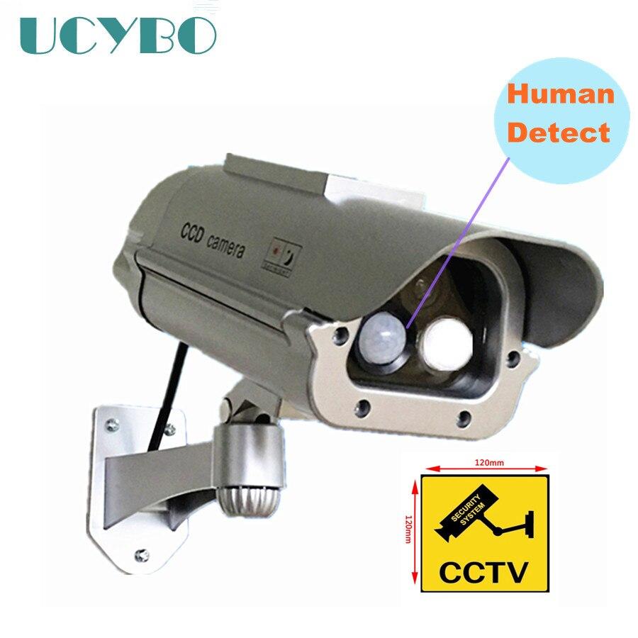 CCTVセキュリティ偽ダミーカメラソーラーパワード屋外防水W /フラッシュLEDライト+人感センサーディテクター偽おとりカメラドアワイヤレスワイヤレスモニター