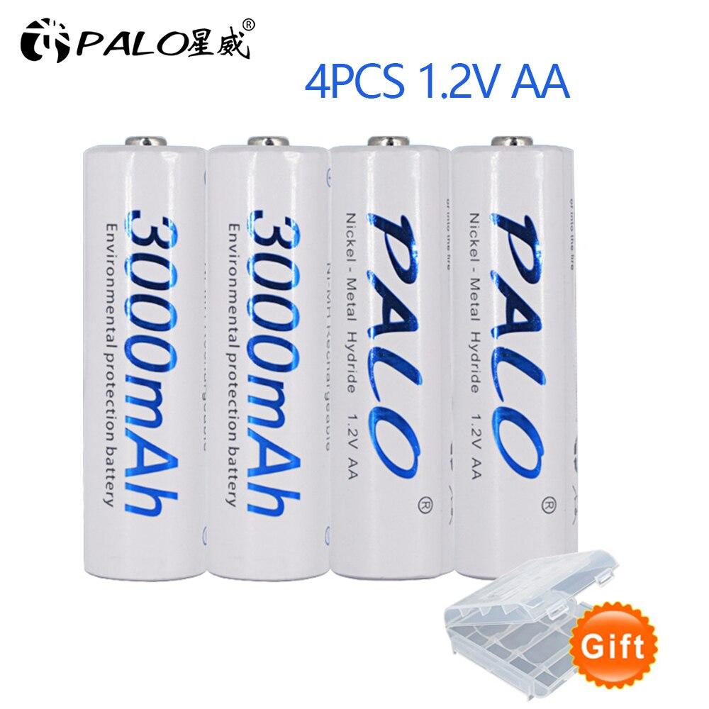 4pcs 2a AA Bateria Baterias 1.2V AA 3000mAh Ni-MH Bateria Recarregável Pré-carregada 2A Baterias para câmera, relógio e Navalha