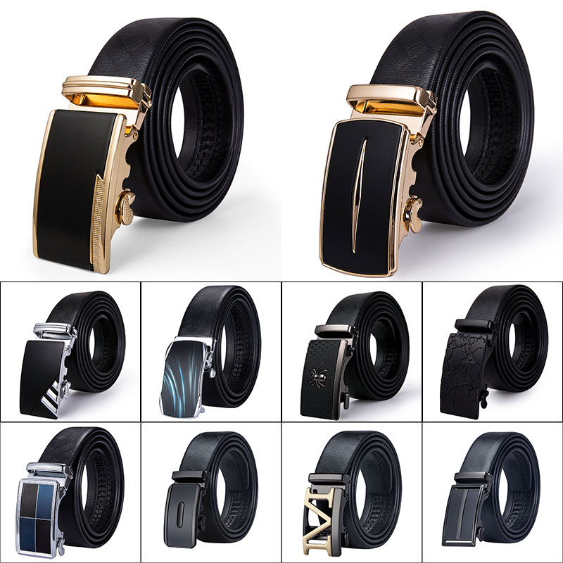 Hi-Tie Famous Brand Men   Belt   Male Cowskin Genuine Leather Strap Cintos High Quality Men's Automatic Buckle Black   Belts   for Men