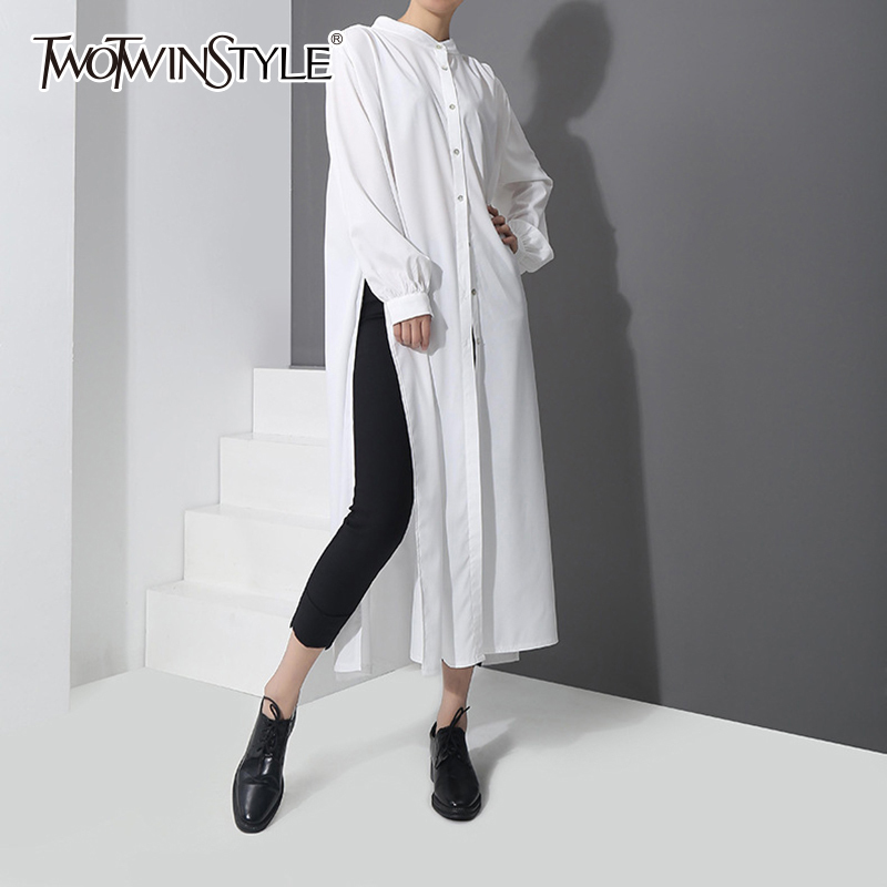 TWOTWINSTYLE Split Long Shirt Female Stand Collar Lantern Sleeve Ruched White Big Size OL Blouse Spring Fashion Elegant Clothing