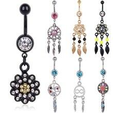 Фотография 1pc Stylish Colorful Rhinestone Dreamcatcher Flower Leaf Button Ring Navel Belly Body Piercing Women Girls Summer Jewelry 9Style