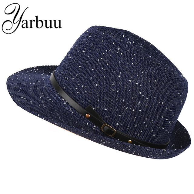 4242becec3b  YARBUU  fedora hat for women high quality sun hats with Sequins Solid  color and Casual female cap Noble hat free shipping
