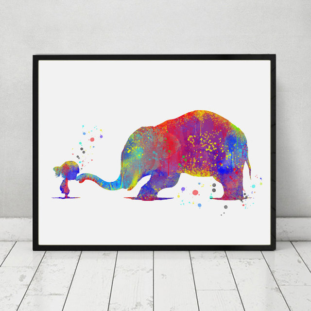 Lovely With Elephant Art Print Nursery Gift Children Watercolor Wall Decor Inspiration Poster