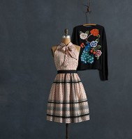 2015 sommer Stil Mode Vintage Sleeveless Polka Dot Streifen Kleid Bogen Kragen StarTurn Kleid 20 Jahrestag Limited Edition