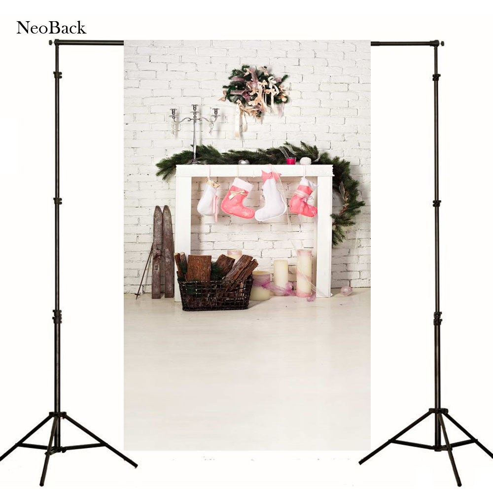 NeoBack Vinyl Cloth Christmas Photography Backdrops Christmas Fire Place children Photo Background Photo studio Backdrop P1065
