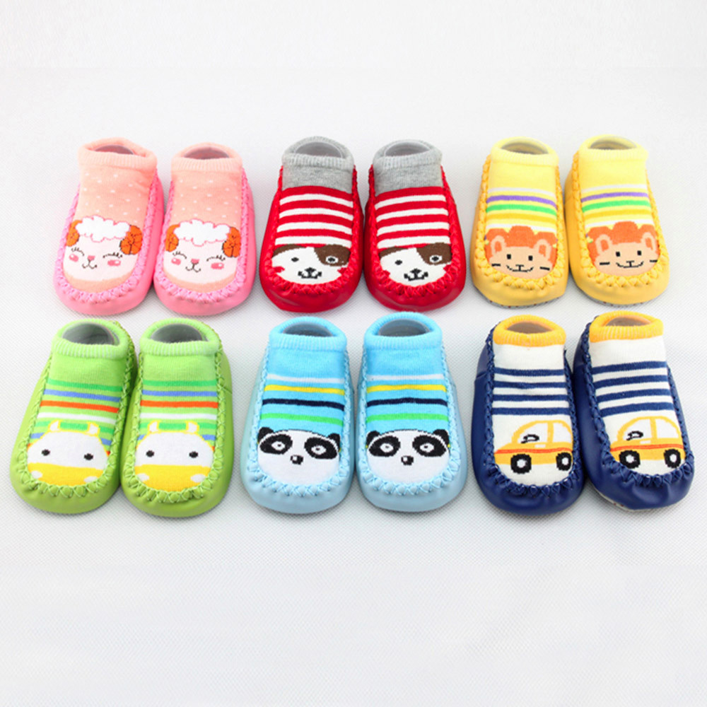 Newborn Toddler Baby Girl Boy Shoes First Walker Baby Cartoon Newborn Baby Girls Boys Anti-Slip Socks Slipper Shoes Boots