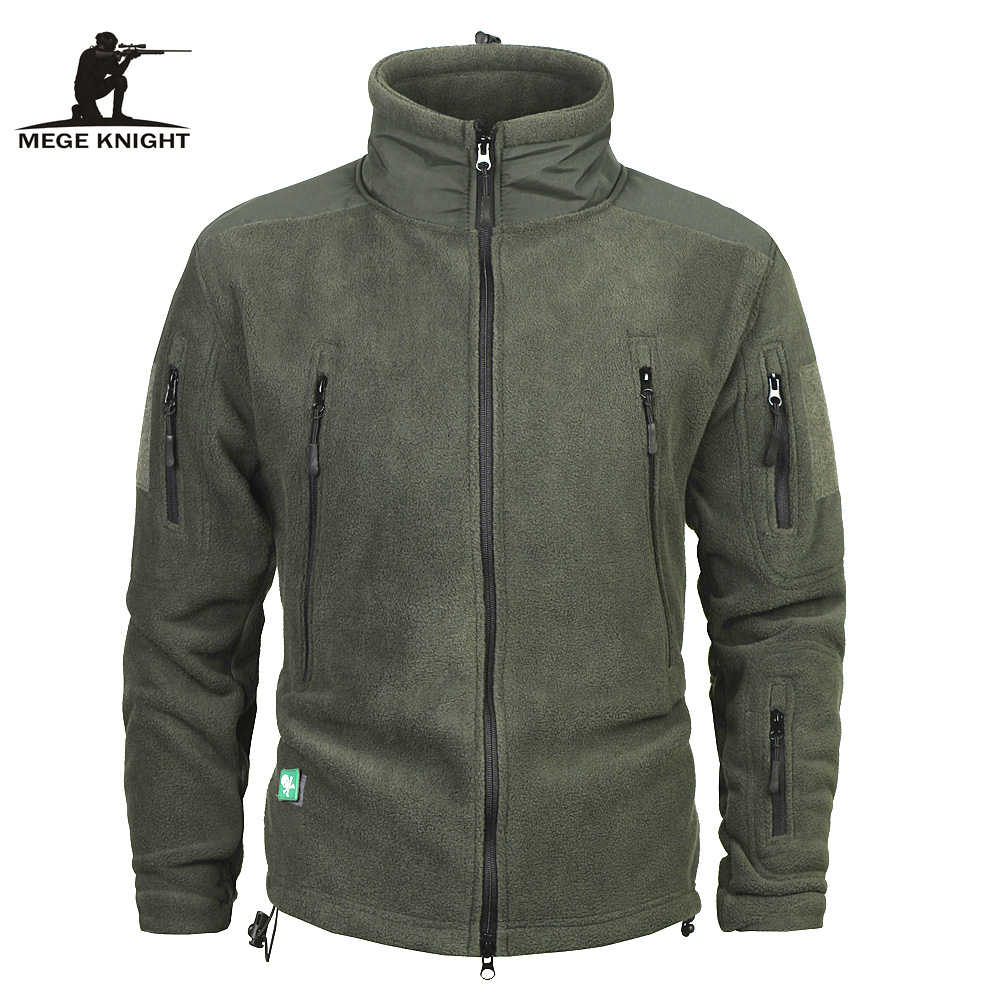 Mege Brand Clothing Coat Men Thicken Warm Military Army Fleece Jacket Patchwork Multi Pockets Polartec Men