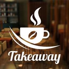 Takeaway Coffee Sign Vinyl Window Sticker, Shop/Coffee/Bar/Pub Coffee Window Door Decal Waterproof Coffee Sign Deco 3W05 свитшот print bar coffee