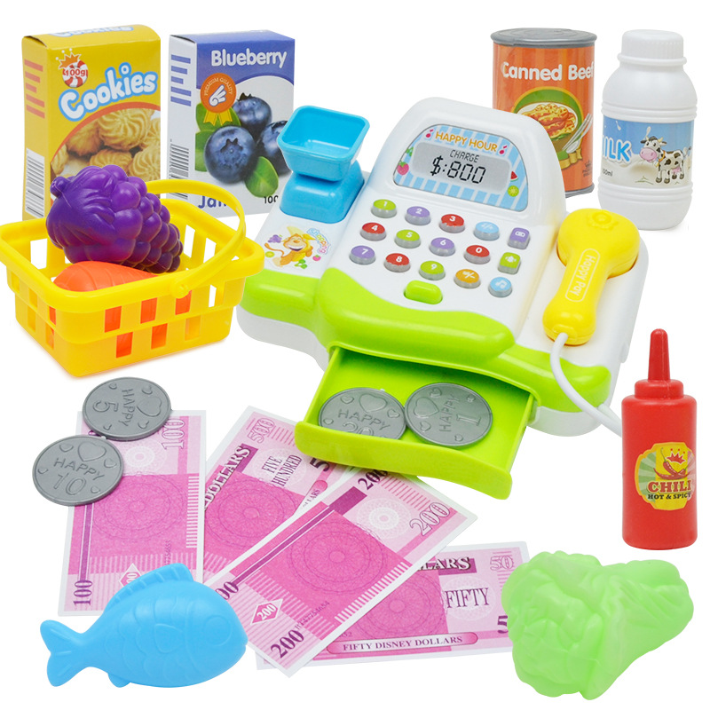 Multi function simulation supermarket cash register, girls' canteen, cash register, children's family toys set c 50 electronic cash registers cash register pos cash register 8v multifunctional catering cash register for supermarket milktea