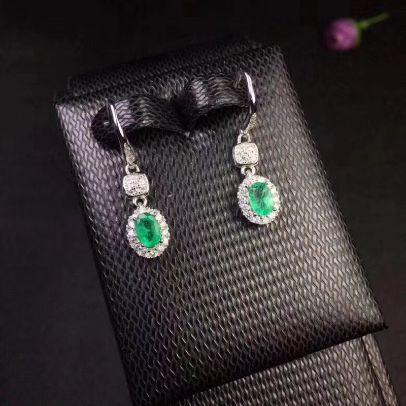 Uloveido Verified Emerald Drop Earrings for Women 925 Sterling Silver Jewelry 4 6mm Gemstone with Velvet