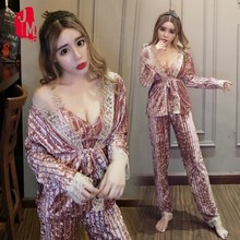 Winter Autumn 3 Pieces Set Pajama Long Sleeve Silk Velvet Pyjamas Women Pajamas Suit Homewear Sleepwear Sexy Pijama Mujer