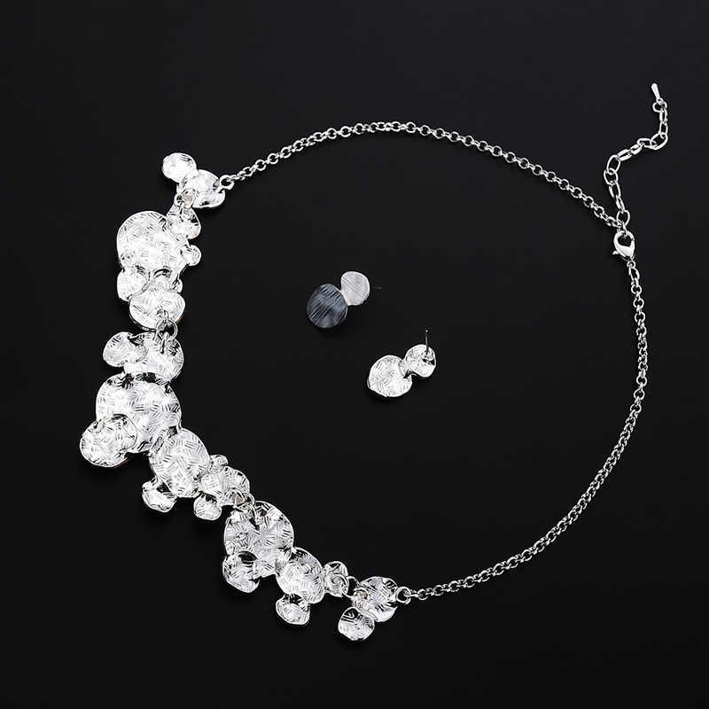 ユニークなデザイン円形幾何ジュエリー女性のファッション女性パーティー結婚式声明チェーンネックレスとイヤリングセット