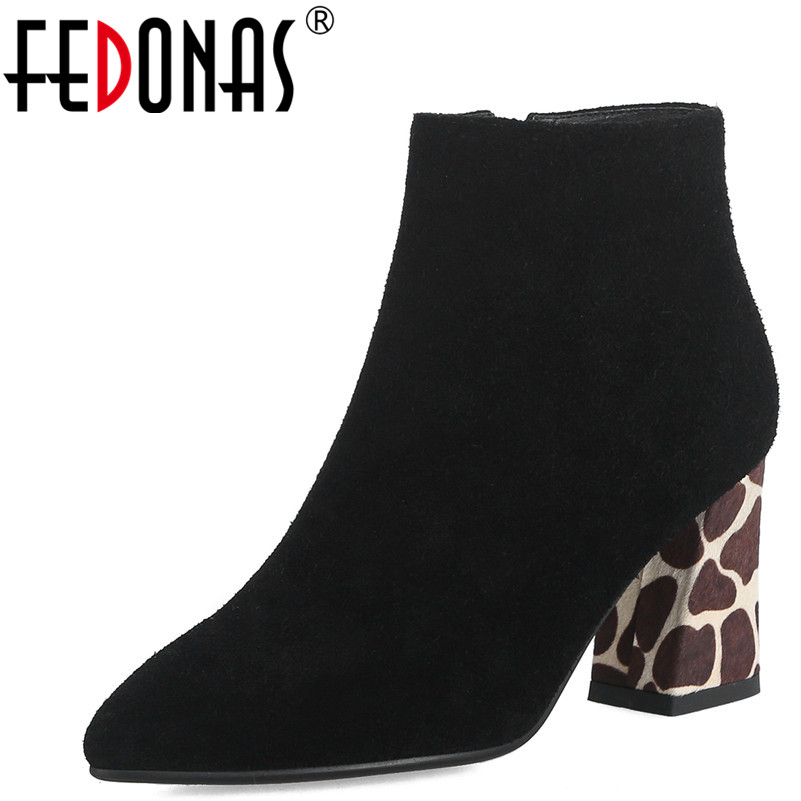 FEDONAS 1Fashion Women Ankle Boots Cow Suede Autumn Winter Warm High Heels Shoes Woman Pointed Toe Elegant Zipper Basic Boots elegant women low high heels ankle boots pointed toe patchwork autumn winter shoes woman basic motorcycle boots dr b0038