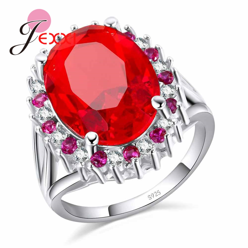JEXXI 925 Sterling Silver Round Wedding Rings For Women AAA Red CZ Zirconia Crystal Finger Rings Flower Handmade Big Sizes Bague