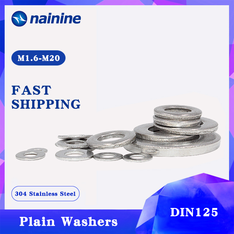 50/100Pcs DIN125 ISO7089 M1.6 M2 M2.5 M3 M3.5 M4 M5 M6 M8 304 Stainless Steel Flat Machine Washer Plain Washer Gaskets HW001