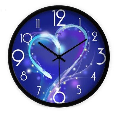 2016 arts créatifs plus proches coeurs bleu muet horloge murale montre salon horloges décoratives