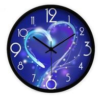 2016 creative arts closer hearts blue mute wall clock watch living room decorative clocks