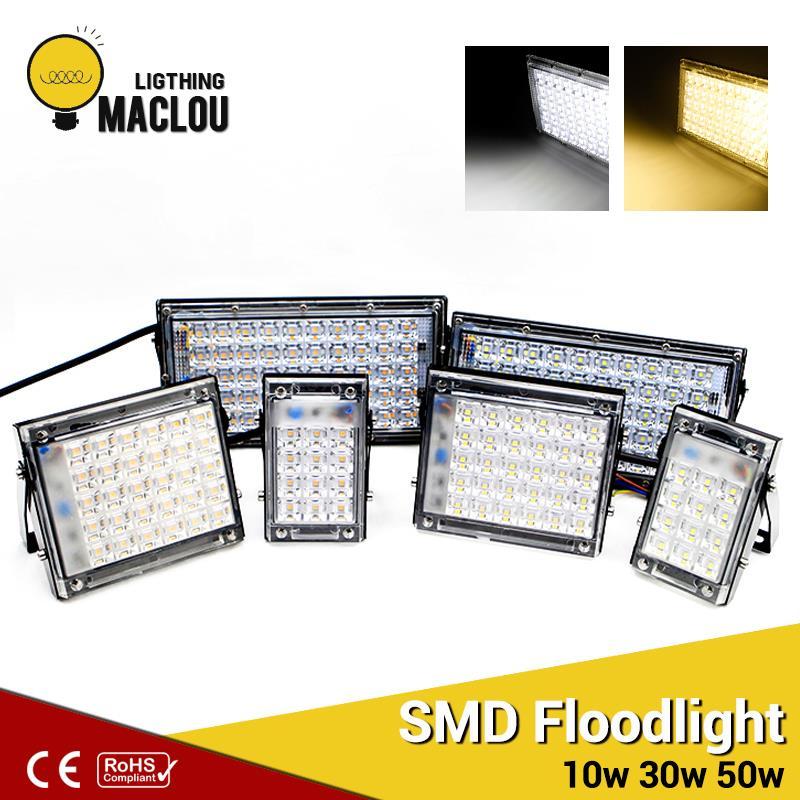 все цены на Ultrathin SMD LED Flood Light 10W 30W 50W IP65 220V LED Spotlight Refletor Outdoor Lighting Garden Wall Lamp Floodlight