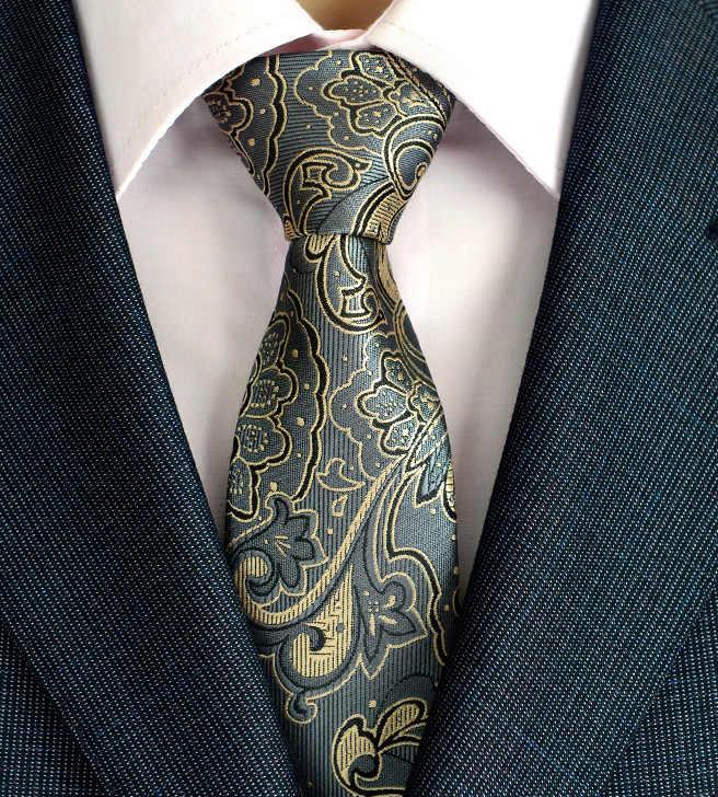Nowy Arrivel Paisley krawaty dla mężczyzn klasyczna jedwabna pleciona żakardowa ślubna krawaty krawaty biznesowe 8cm Corbatas Hombre 2016
