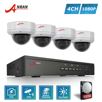 ANRAN P2P Plug And Play 1080P HD 4CH POE NVR 30 IR Waterproof Dome Security POE