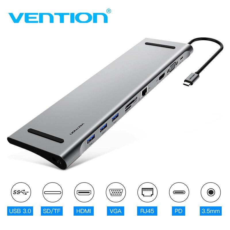 Vention thunderbolt 3 USB-C vers HDMI VGA convertisseur USB3.0 HUB SD/TF lecteur de carte 3.5mm Jack PD adaptateur RJ45 pour MacBook Type C HUB